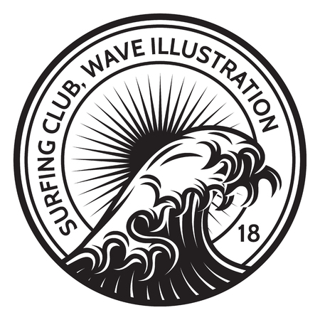 Monochrome vector template with a wave of water on the theme of surfing. Çizim