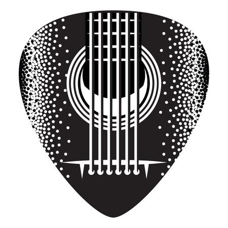 Stylish monochrome plectrum for guitar. Vector illustration.