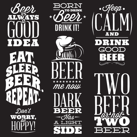 Vector set of stylized quotes on the topic of beer. White text on a black background. Çizim