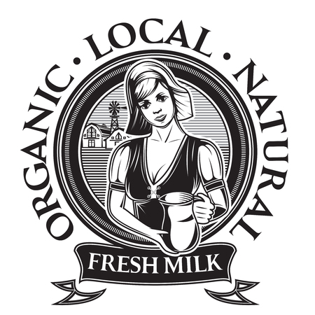 Vector template for food packaging design with a milkmaid. 向量圖像