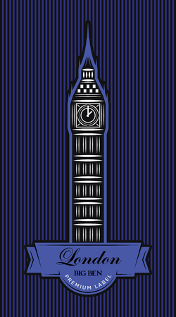 Vector color template for business card design with London Big Ben.