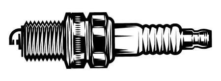 Vector monochrome illustration with spark plug on white background. Illustration