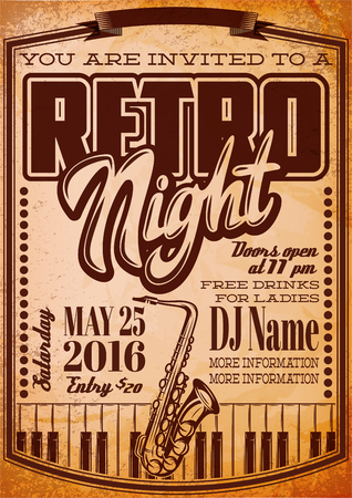 Vector template in retro style for a party with a saxophone and keys. Illustration