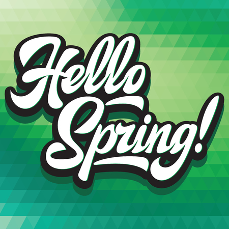 Stylized calligraphic inscription Hello Spring on the background. Stock Illustratie