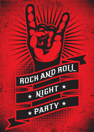 Vector template for design of a grunge poster on the theme of rock night party. Ilustração