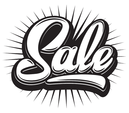 Stylish calligraphic red lettering sale on the background.