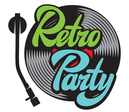 Design elements in retro style with vinyl record and stylish lettering retro party.