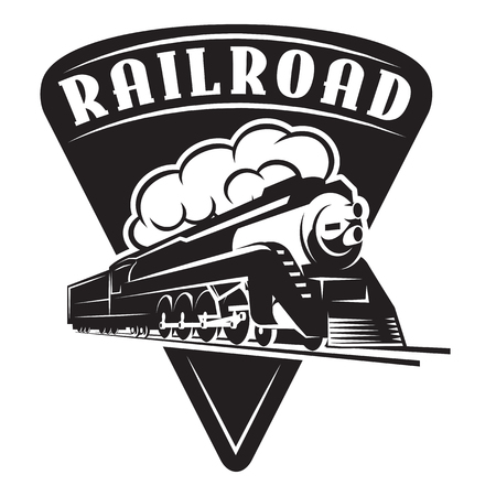 vector template with a locomotive, vintage train. Vettoriali