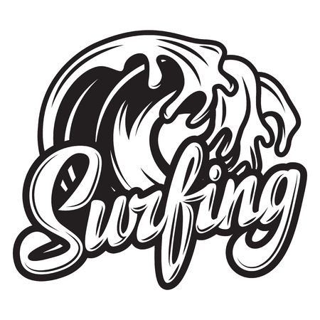 Vector monochrome calligraphic inscription surfing with wave.