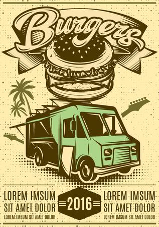 Buen coche hamburguesa. Camión de comida rápida.