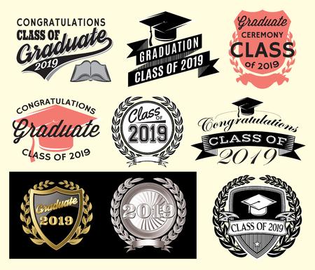 Graduation vector set Class of 2019 Congrats grad Congratulations Graduate.