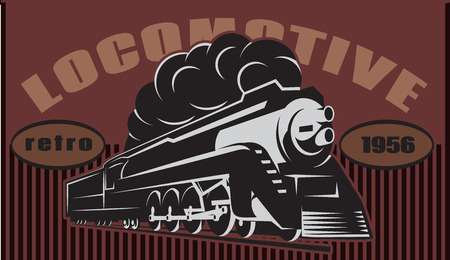 Colorful retro posters with a vintage locomotive. Vector illustration.