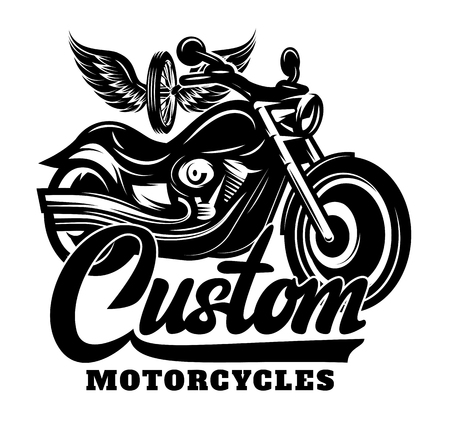 Calligraphy lettering inscription with motorcycle, wheel and wings.