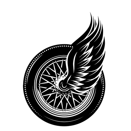 Vector monochrome pattern - wheel with wings.