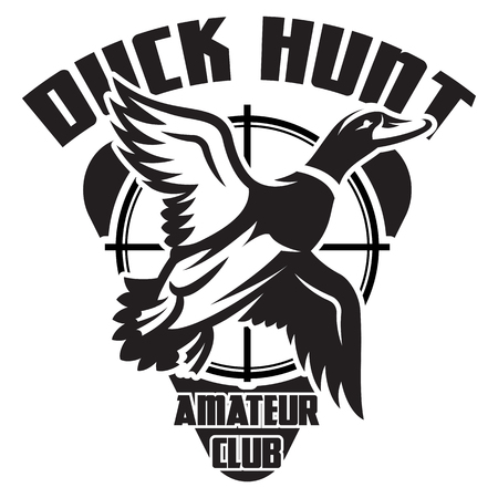 Vector monochrome template on the theme of duck hunting in wild. Ilustrace