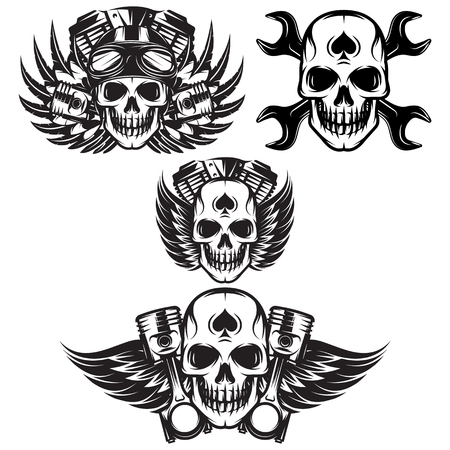 vector set of monochrome image on motorcycle theme with skull, wings, engine. Çizim