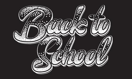 Monochromatyczne ilustracji wektorowych z napisem napis powrót do szkoły.