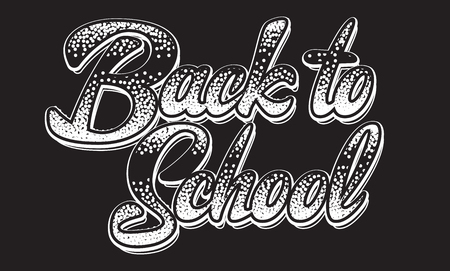 Vector monochrome illustration with lettering inscription back to school.