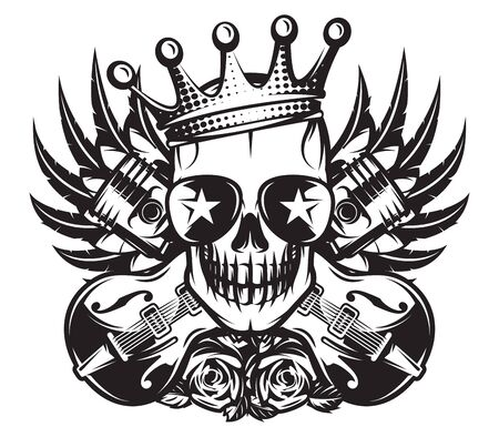 Vector monochrome illustration on the combined theme of rock music and motorcycle.