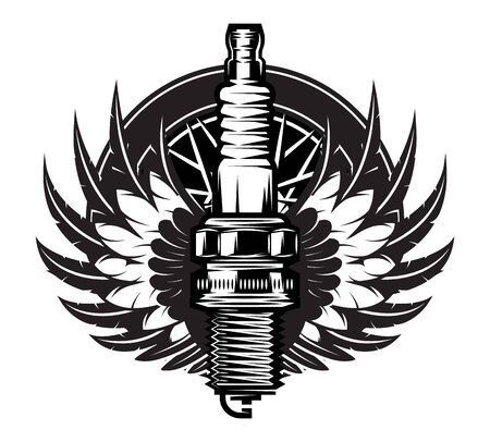 Spark plug with wings. Vintage moto emblem.
