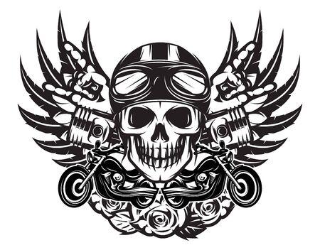 Illustrazione monocromatica di vettore sul tema combinato di musica rock e moto.