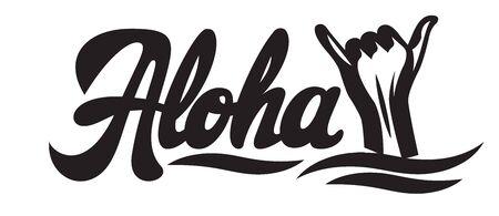 Vector monochrome illustration with stylish inscription Aloha and hand. Standard-Bild - 125362872