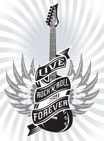 Vector monochrome illustration with guitar, tape and text.