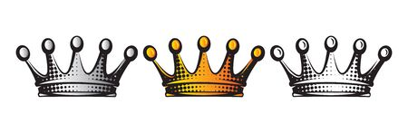 Vector illustration with set of crowns. Isolated clipart