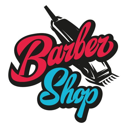 Stylish retro icon with a comb and a machine for the barber shop.