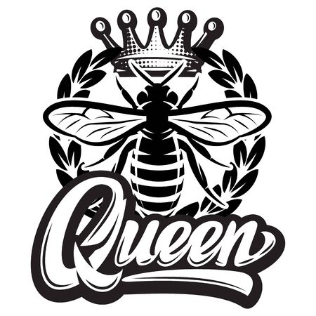 Vector pattern with flying bee, crown and calligraphic inscription - queen.