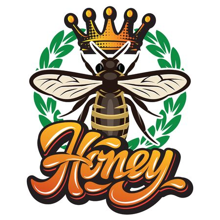 Vector pattern with flying bee, crown and calligraphic inscription - honey. Ilustracja