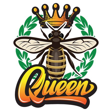 Reticolo di vettore con ape volante, corona e iscrizione calligrafica - regina.