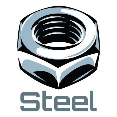 Vector color illustration with steel nut.