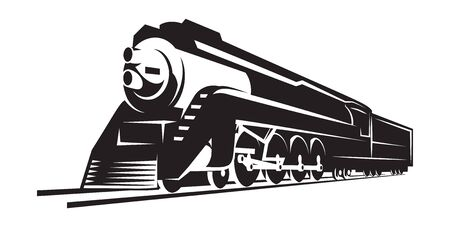 vector template with a locomotive, vintage train. Ilustrace