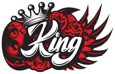 Stylish vector illustration on the theme of rock music with calligraphic inscription King and crown.