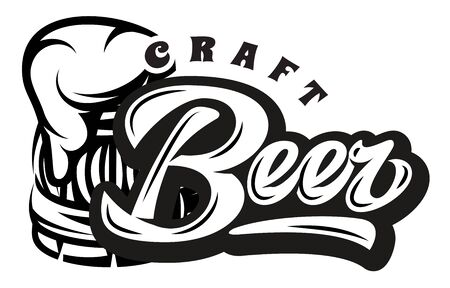 Vector monochrome illustration with calligraphic inscription - Beer and mug. Ilustrace
