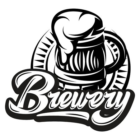 Vector monochrome illustration with beer mug and calligraphic inscription - brewery.