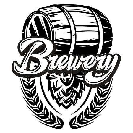 Vector monochrome illustration with calligraphic inscription Brewery with barrel and hops.