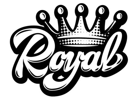 Vector illustration with crown and calligraphic inscription Royal. Ilustrace