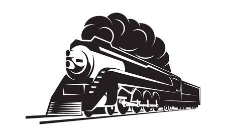 vector template with a locomotive, vintage train. Иллюстрация