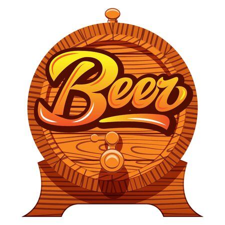 Color vector illustration with oak barrel and calligraphic inscription - beer.