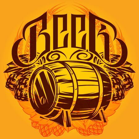 Color vector template on the alcohol theme with a barrel, hops, spikelets.