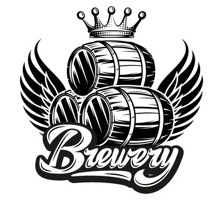 Vector monochrome illustration with calligraphic inscription Brewery with barrel. Çizim