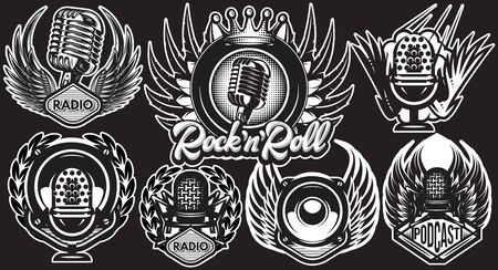 Set of vector templates with microphone and wings on black background. Иллюстрация