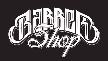 Vector illustration with stylish inscription for barbershop. Calligraphy. Lettering. Illustration