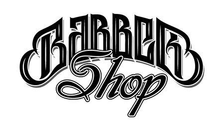 Illustrazione vettoriale con scritta elegante per negozio di barbiere. Calligrafia. Lettere.