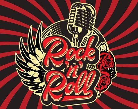 Stilvolle Vektorvorlage zum Drucken zum Thema Rockmusik mit einer kalligraphischen Inschrift Rock n Roll.