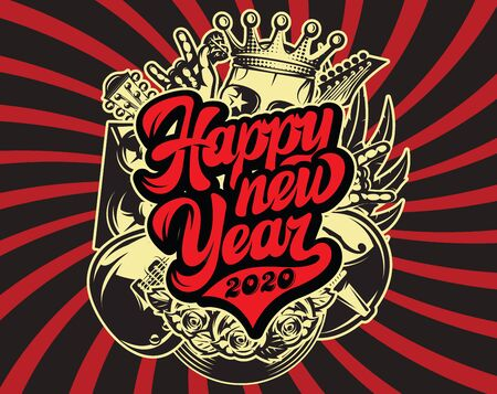 Stylish vector template for printing on the theme of rock music with calligraphic inscription Happy new year.  イラスト・ベクター素材