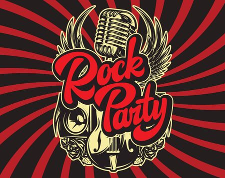 Stylish vector template for printing on the theme of rock music with a calligraphic inscription.