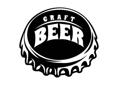 Vector illustration with stylized beer bottle cap.  イラスト・ベクター素材